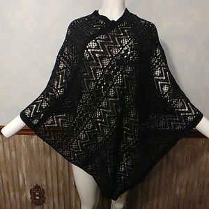 Cejon Gorgeous Knitted Black Poncho OS